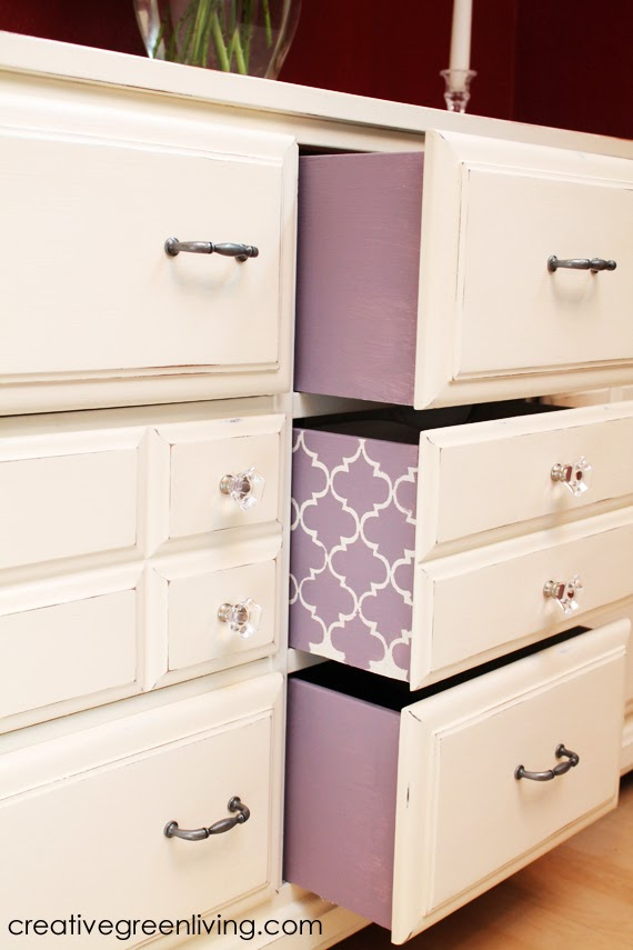 Upcycled dresser with chalk paint and color pop drawers