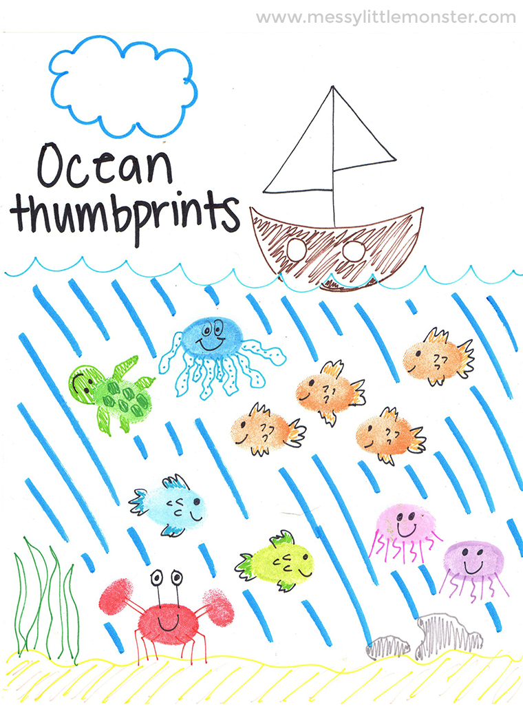 Ocean theme thumbprint animals craft for kids. Follow our easy step by step printable instrcutions to make under the sea fingerprint animals. A fun ocean activity for toddlers and preschoolers. Make fingerprint fish, thumbprint crabs, thumbprint jellyfish, a fingerprrint octopus and a thumbrpint turtle.