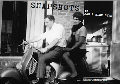 cover of Snapshots by Corina Duyn, with photo of Jan and Miep Duyn on a motorbike, with view into a kitchen