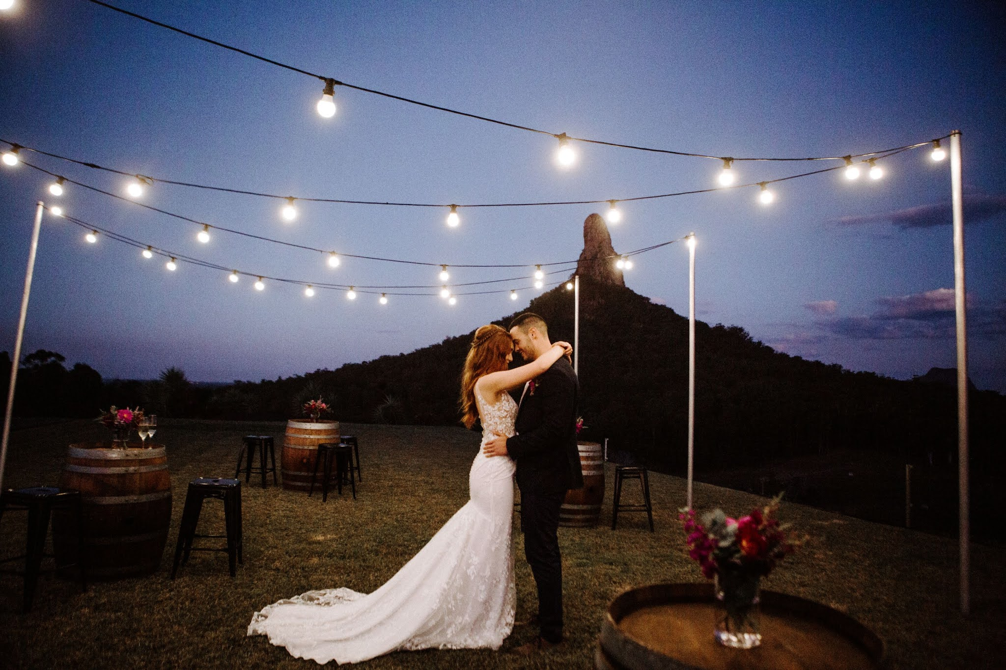 Kayla Temple Photography festoon lighting bridal gowns tablestyling