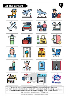 ESL vocabulary: at the airport. Including the following words: airline · airport · arrivals · baggage / luggage · boarding pass/card · car rental ·  check-in counter · control tower · customs · departures · duty free · emergency exit ·  flight attendant · gate · life vest · passenger · passport · pilot · plane · runway ·  seat · seat belt · security check · trolley / cart . Download this printable worksheet.