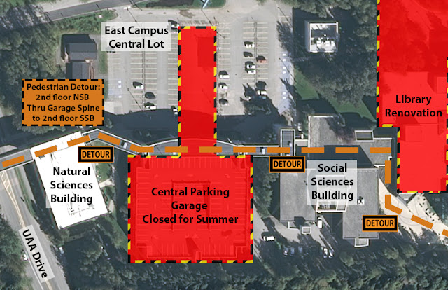 Map depicting the closure of the Central Parking Garage and associated pedestrian detour through the spine that runs from the second floor of the Natural Sciences Building, through the garage, to the Social Sciences Building.