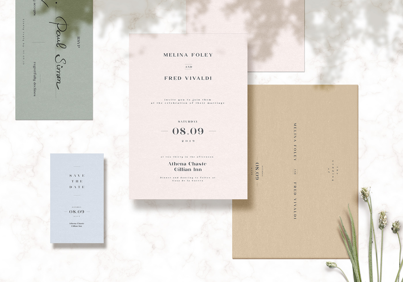 Floating Invitation Cards Mockup