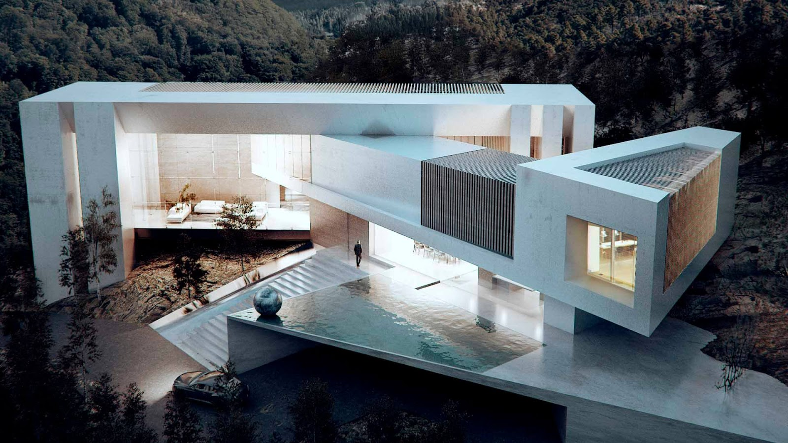 These Blocks Intersect To Give Life To A Harmonious Composition And Volume  Ordered That By Using Large Windows, Double Heights And Terraces, Allow  Make The ...