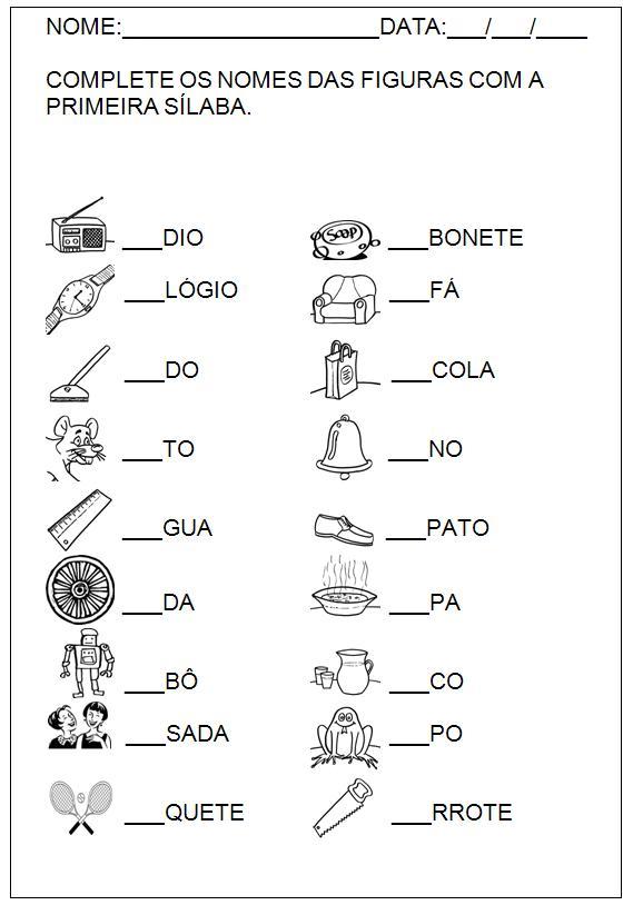 Atividades Para Imprimir Hipotese De Escrita Silabica Alfabetica