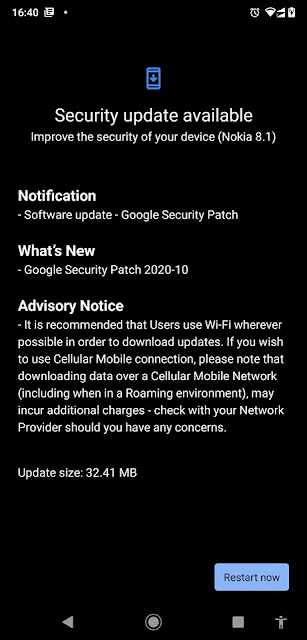 Nokia 8.1 receiving October 2020 Android Security patch