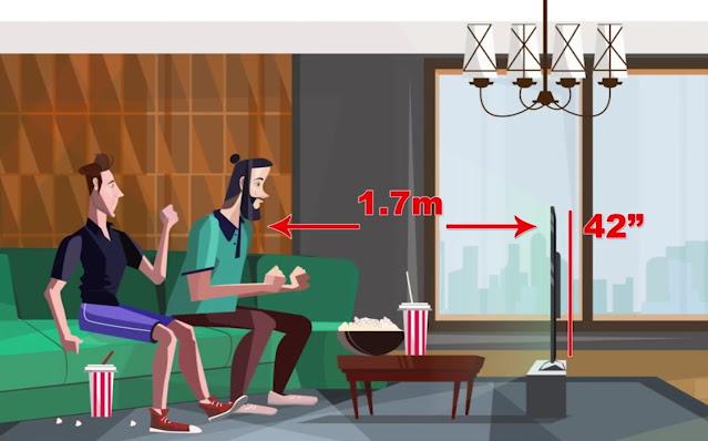البعد المناسب عن شاشة التلفزيون حسب حجمها