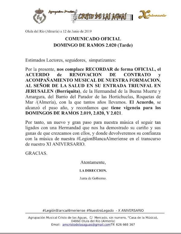 La Borriquita de Roquetas de Mar renueva su acompañamiento musical
