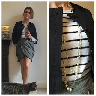 Stripy Zara Top, Pearls and wrap over skirt