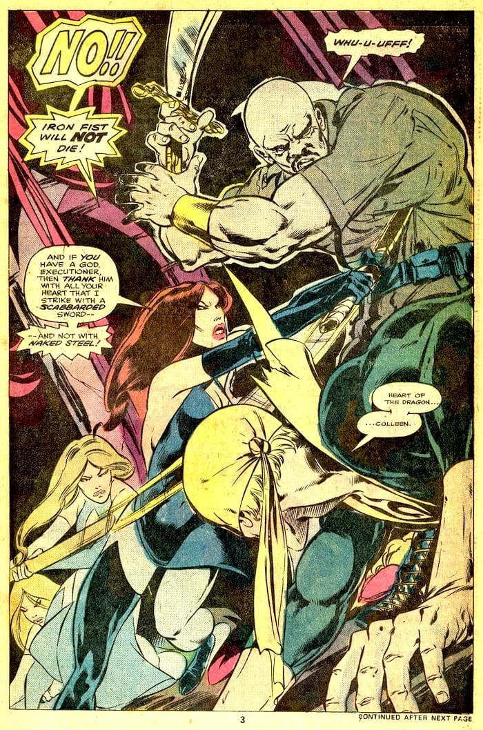 Iron Fist #7 bronze age 1970s marvel comic book page art by John Byrne