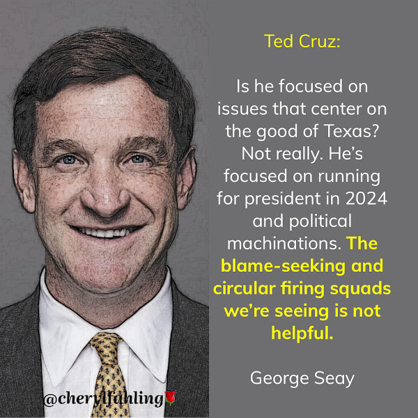Ted Cruz: Is he focused on issues that center on the good of Texas? Not really. He's focused on running for president in 2024 and political machinations. The blame-seeking and circular firing squads we're seeing is not helpful. — George Seay, GOP Political Analyst and Investor