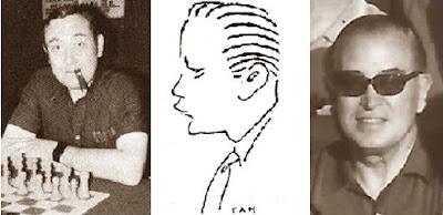 Los ajedrecistas Francisco Ballbé, Jordi Palau -en un dibujo deTan- y Pere Cherta