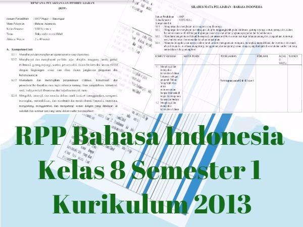 RPP Bahasa Indonesia Kelas 8 Semester 1 Kurikulum 2013