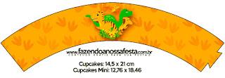 Wrappers para Cupcake de Fiesta de Dinosaurios  para Imprimir Gratis.