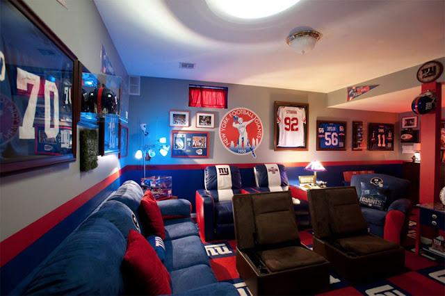 Football theme basement interior design