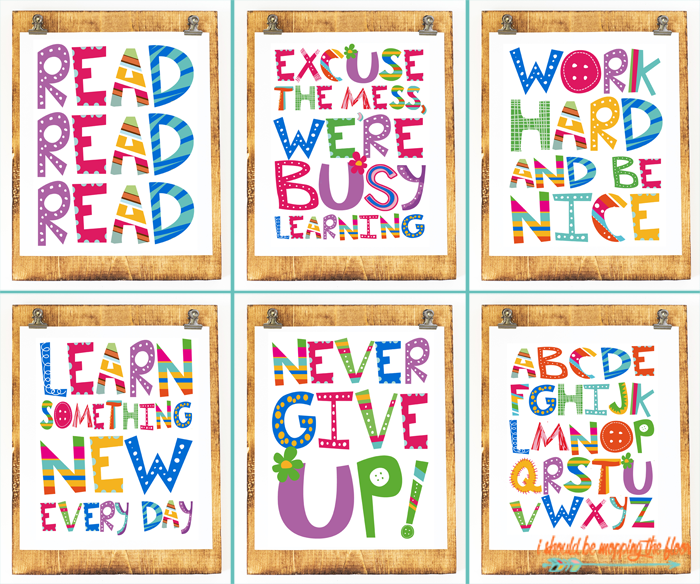 Six Colorful Classroom Printables | Grab these six fun prints for classroom and kids' decor (and more!).
