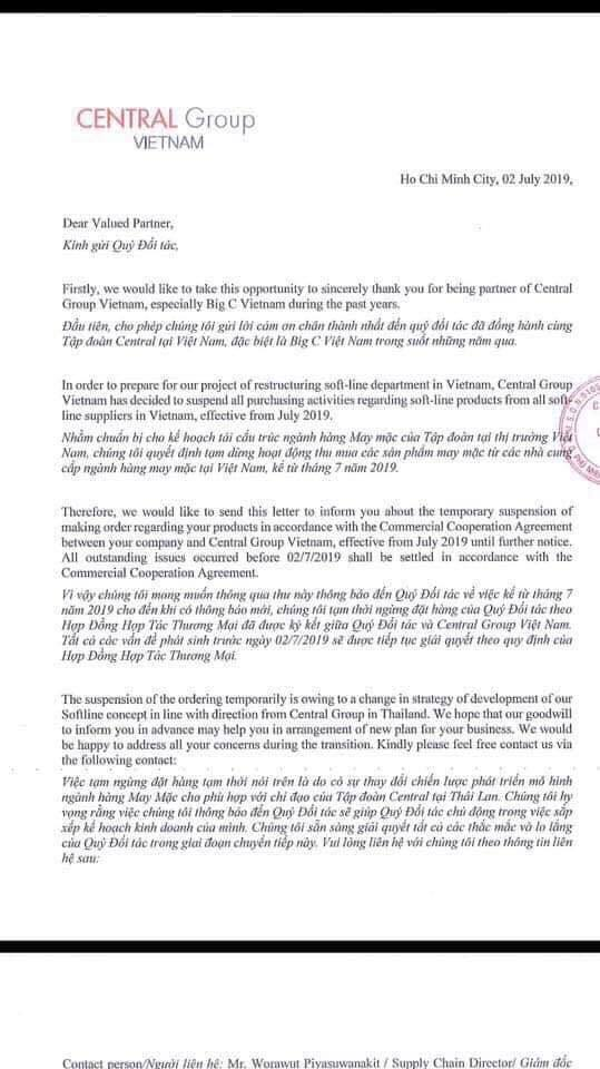 Big C đột nhiên ngưng nhập hàng của Doanh nghiệp Việt