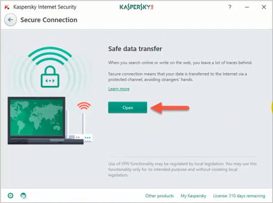 VPN داخل برنامج Kaspersky 2017 شرح خاصية Kaspersky Secure Connection
