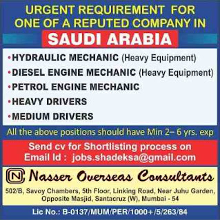 Urgent Requirement for Reputed Company in Saudi Arabia