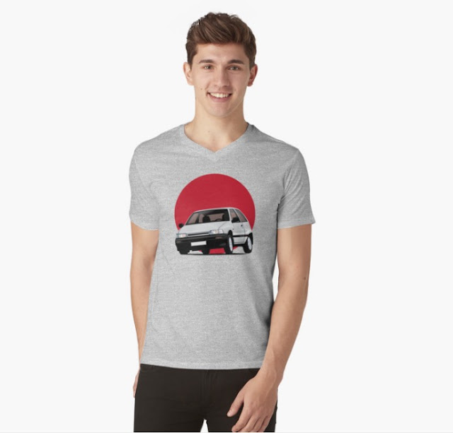 White Daihatsu Charade with rising sun t-shirt