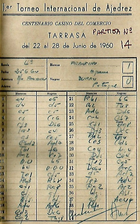 Planilla de la partida de ajedrez Francino - Durao del I Torneo Internacional de Terrassa 1960