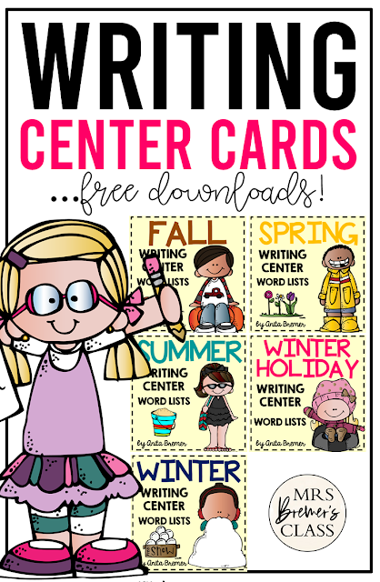 Free writing center word card lists for your classroom