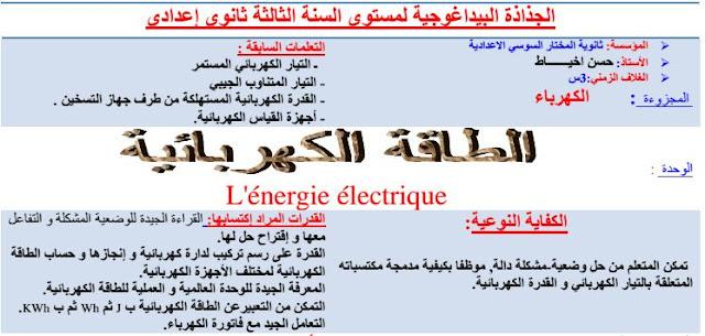 نموذج لجذاذة درس : الطاقة الكهربائية مصحوب بوضعية مشكلة+وضعية اخرى لإستئناس + نشاط +وثيقة مساعدة
