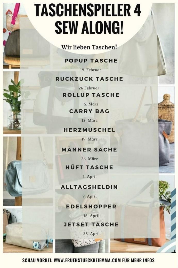 Zeitplan der genähten Taschen beim Taschenspieler 4 Sew Along von Frühstück bei Emma