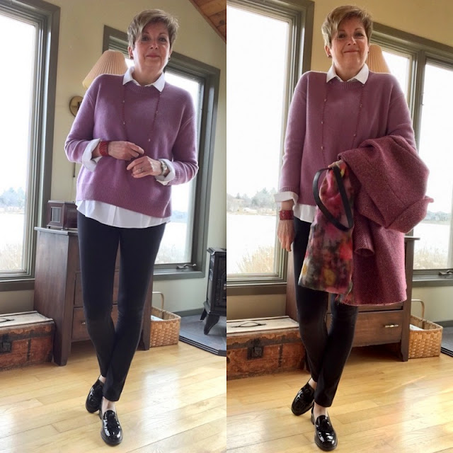 two shots of a woman in pink sweater, black pants, black loafers, and white shirt