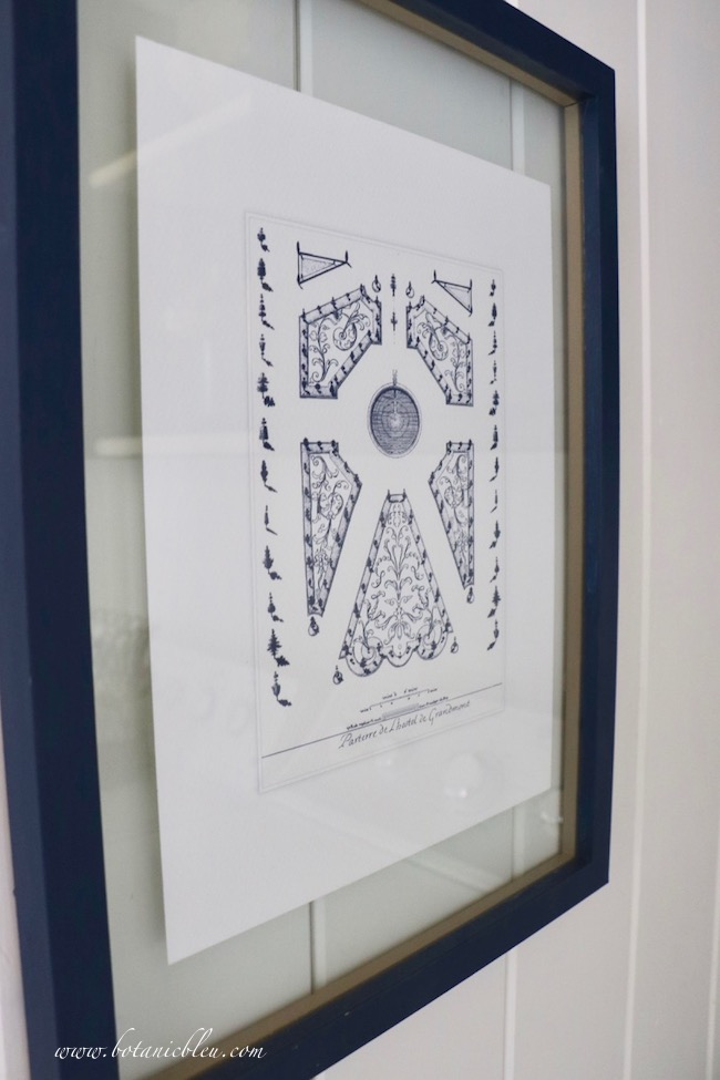 French Country Laundry ORC™ Reveal French Parterre Garden Plan Print in Navy Glass Frame