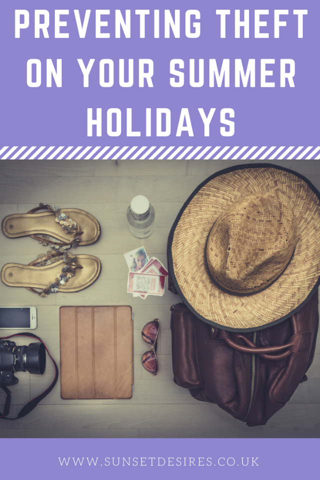 Banner saying Preventing Theft On Your Summer Holidays with picture of luggage and valuables.