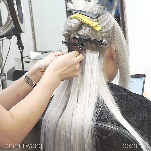 Dearmiju x sammiiwang x ellenvlora collaboration ft fanola the we did her bleach retouch colortoner with fanola we were able to match her hair to the silver ice hair shop smart tab extensions pmusecretfo Gallery