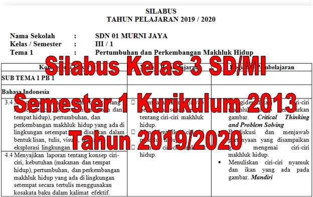 Silabus Kelas 3 SD/MI Semester 1 Kurikulum 2013 Tahun 2019/2020 - Guru Krebet 3