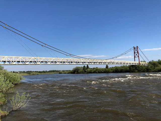 Подвесной вантовый пешеходный мост через Иню - ст. Буготак
