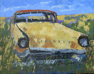 painting palette knife car automotive art packard junk rust abandoned