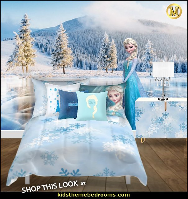 ELSA frozen bedroom  elsa pillows crystal lamp snowflake bedding  Frozen theme Elsa bedroom - Elsa theme bedroom ideas - princess Disney Frozen - Winter theme decorations -  Frozen room decorating ideas - Disney Frozen themed decor - Queen Elsa Frozen theme bedroom decor  - Disney Frozen bedroom decorating ideas - snow queen bedroom ideas