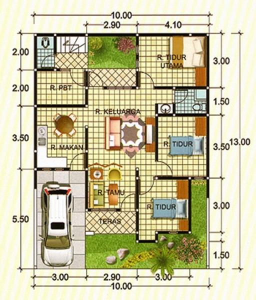 Denah rumah ukuran 10 x 13 dengan 3 kamar tidur