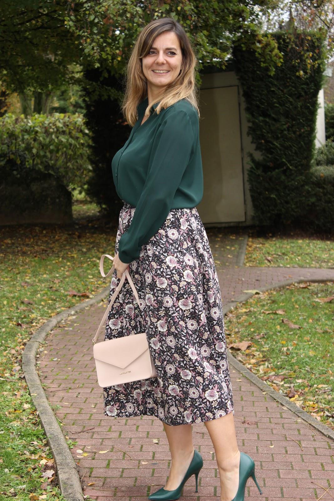 jupe balzac, look du jour, blouse verte, les petites bulles de ma vie