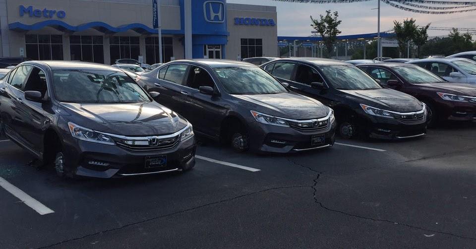 30 vehicles damaged in north carolina honda dealer wheel heist