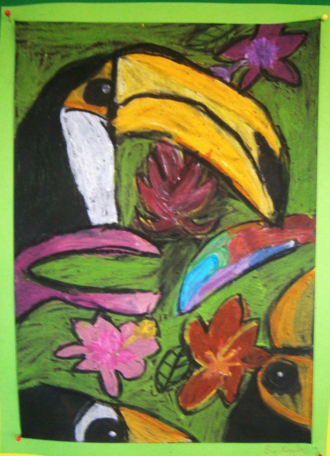Art With Mrs Baker Grade 1 2 Oil Pastel Toucans