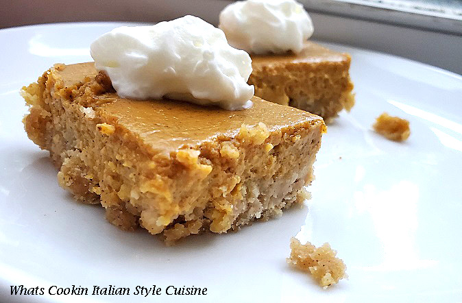 these are a bar cookie with oatmeal crust, pumpkin filling and whipped cream on top. The slice is on a white round plate