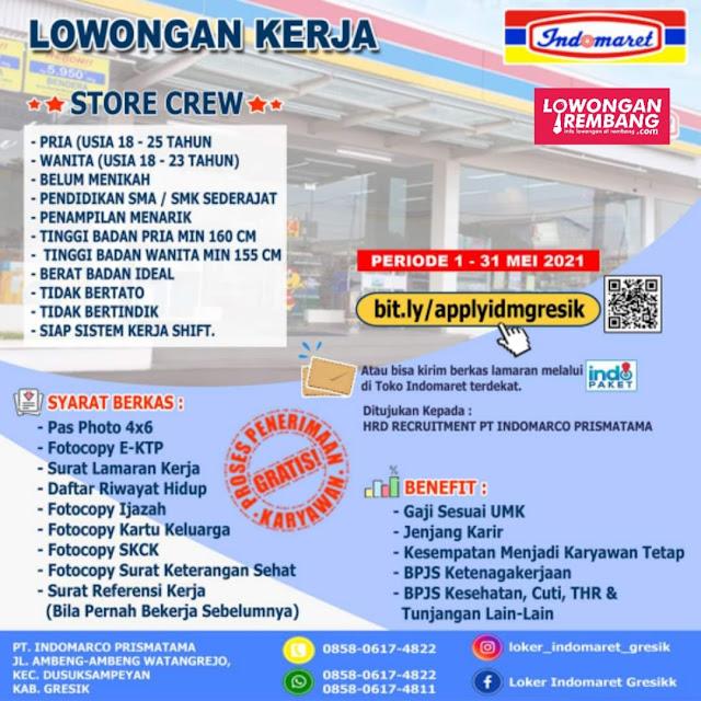 Lowongan Kerja Store Crew Indomaret Penempatan Rembang Lamongan Madura Gresik Surabaya Tuban Madura
