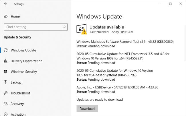 تثبيت تحديثات Edge والبرامج الأخرى عبر Windows Update.