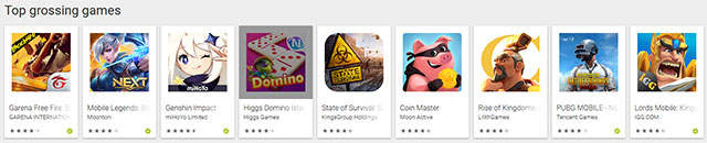 top grossing, google play store