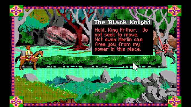 Screenshot from Conquests of Camelot where King Arthur is jousting with the Black Knight