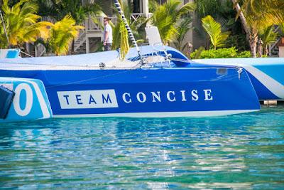 Team Concise, MOD70, au ponton avant le départ de la RORC Caribbean 600.