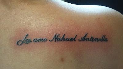 Tatuaje de nombres Nahuel, Antonella