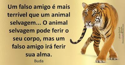 Um falso amigo é mais terrível que um animal selvagem... O animal selvagem pode ferir o seu corpo, mas um falso amigo irá ferir sua alma. Buda