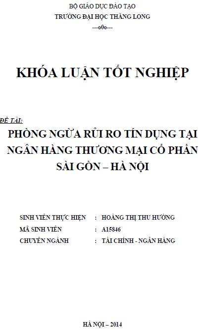 Phòng ngừa rủi ro tín dụng tại Ngân hàng Thương mại Cổ phần Sài Gòn - Hà Nội (SHB)