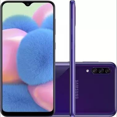 "Smartphone Samsung Galaxy A30s 64GB Tela 6.4"" Câmera 25MP + 5MP + 8MP - Violeta"